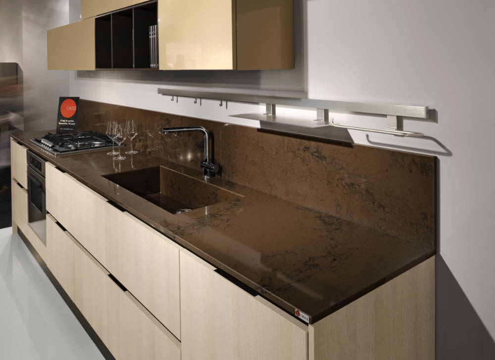 Kitchen: Kitchen countertop with assembled sink and shelf in ...